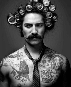 just a guy in curlers...
