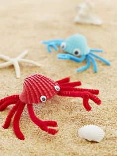 Turn beachcombed finds into shoreline critters that'll help keep vacation memories alive. For each, paint a clean, dry shell with acrylic paint and let it dry. Cut three pipe cleaners in half. Twist five halves together at the center. Glue the twisted center to the inside of the shell with tacky glue and let dry. Spread out the pipe cleaners so that each side has five legs. Cut the remaining pipe cleaner half in two, then fold the end of each front leg around a half to form the claw. Bend…