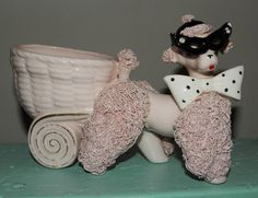 Vintage Pink Poodle, Spaghetti Poodle, Poodle Planter, Cat Eye Glasses on Poodle