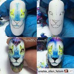 Animal Nail Designs, Crazy Nail Designs, Animal Nail Art, Nail Art Designs, Tattoo Designs, Lion Nails, 3d Nails, Cute Nail Art, Cute Nails