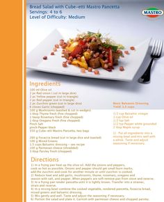 Bread Salad with Cube-etti Mastro Pancetta  Servings: 4 to 6   Level of Difficulty: Medium