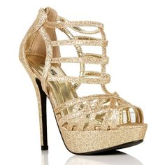 Gold Glitsy Strappy Heels ($29) found on Polyvore