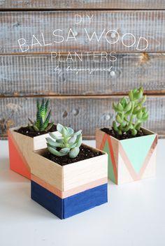 DIY Balsa Wood Planters - brepurposed