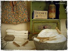 Old-fashioned laundry space.