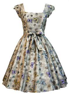 Lady Vintage 50s Retro Silver Butterfly Swing Jive Rockabilly Dress Size 8-22