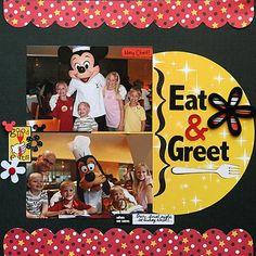Eat & Greet Ideas Scrapbook, Vacation Scrapbook, Disney Scrapbook Pages, Scrapbook Page Layouts, Scrapbooking Ideas, Scrapbook Photos, Disney Theme, Disney Fun, Disney Trips
