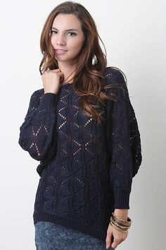 Put together a trendy and comfy look with the Cafe Sunset Sweater. This sweater features uniquely woven knit, scoop neckline, quarter length batwing sleeves with ribbed cuffs