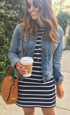summer outfits  Denim Jacket + Black Striped Dress + Camel Leather Shoulder Bag