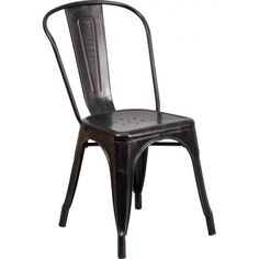 Outdoor Industrial Style Restaurant Chairs Westinghouse Industrial Side Chair - Black Antique Gold