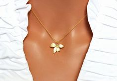 Gold Leaf Pendant Simple Classic Everyday by AuroraJewelryBox, $21.00