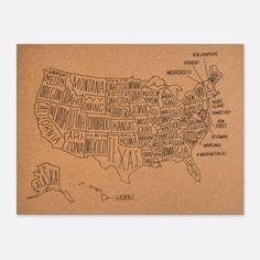 """Hand-drawn map of the United States. Use it to record or plot your adventures or use as a study tool to see state placement. Silkscreen on cork 