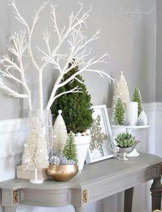 Deco de navidad en blancos y verdes