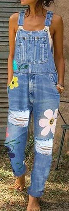 off】Casual Big Flower Print Pockets Denim Jumpsuit. Jumpsuit Casual, Denim Jumpsuit, Overalls, Floral Jumpsuit, Dungarees, Painted Jeans, Painted Clothes, Diy Jeans, Denim Fashion