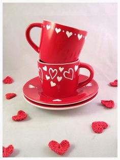 Two hearts valentines gift set  espresso cups or by WhimsicalUK, £15.00