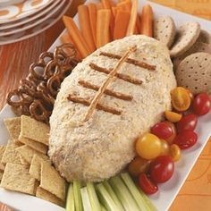 It's tailgating season!!!  This is a recipe for a crab pate, but I'd make a foot-ball shaped cheese ball instead.