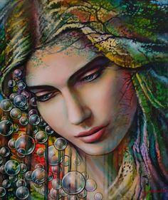 madone.jpg - Peinture,  55x46x2,5 cm ©2016 par Jean-Jacques BRIQUET -                                                            Art figuratif, Toile, Femmes, forêt, bulles, songes, amour, nature