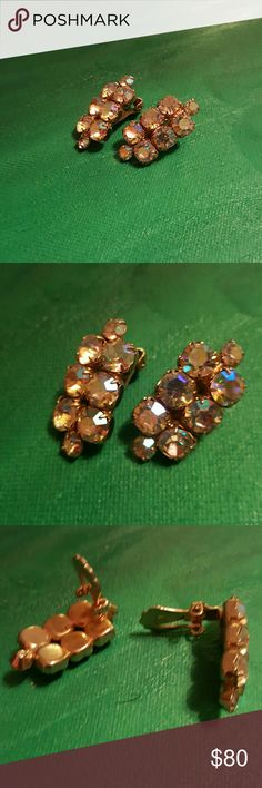 "Vintage Aurora Crystals Clip-ons About 1"" in length & 1/2"" width.  There are no stamps I'm not sure how old they are. Poshers if you could help me with this, I would greatly appreciate it. They are absolutely gorgeous stunning. If you have any questions or comments please feel free to reply below. Jewelry Earrings"