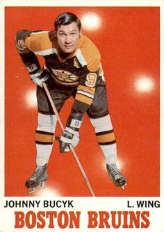 Johnny Bucyk 1970-71 Topps #2 Hockey Games, Hockey Players, Boston Sports, Boston Red Sox, Hockey Boards, Bobby Orr, Boston Bruins Hockey, National Hockey League, New York Rangers