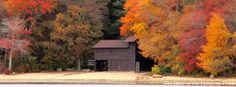 Fall foliage at the Camp Sandy Beach Waterfront, as viewed from the #Yawgoog Pond Dam. A 2015 Facebook cover photo by David R. Brierley.