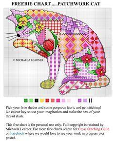 Cross stitch cat. Just wish it was in blues, not pinks.
