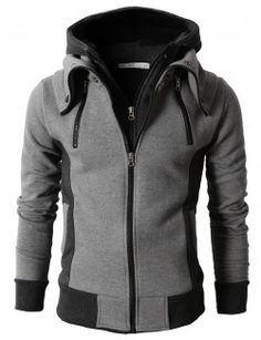 Doublju Men's High Neck Zip-Up Hoodie with Double Zip (KMOHOL013)