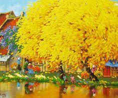 Autumn noon in Hanoi  by Vietnamese Artist Duong Ngoc Son