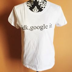 """idk, google it tee condition: new with tags retail  - idk, google it - how you is this?! - cotton poly spandex  - 96"""" across bust, 27"""" length, 17"""" across shoulders      see closet for other sizes.  price firm unless bundled!  bundle to save the most.  no trades. ask ?s. happy poshing! pamcakesyumyum Tops Tees - Short Sleeve"""