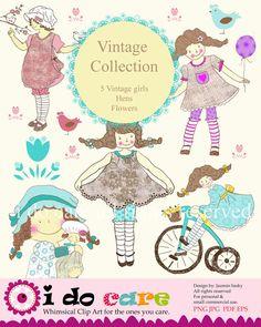 Vintage girls clip art PNG digital filePNG by idocaredesigns, $8.00