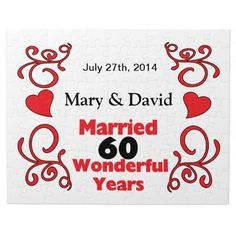 Red Scroll & Hearts Names & Date 60 Yr Anniversary Jigsaw Puzzle