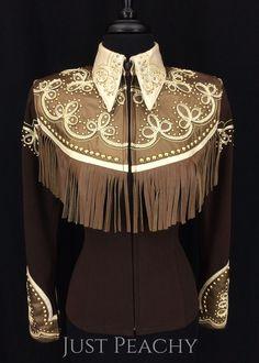Chocolate Retro Fringe Jacket by Deb Moyer ~ Ladies XS