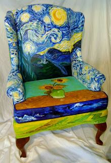 This chair ( was painted for a silent auction that my son's university choir was hosting. And again, I chose a V incent Van Gogh motif. Art Furniture, Hand Painted Furniture, Funky Furniture, Upholstered Furniture, Unique Furniture, Decoupage Furniture, Hand Painted Chairs, Furniture Design, Luxury Furniture