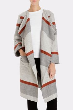 CUPCAKES & CASHMERE Jolie Yarn Dyed Stripe Blanket Coat | Available at Keaton Row