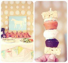 Rice Crispy Treats, Cupcakes, and Mini Doughnuts on a stick! Oh my!!!