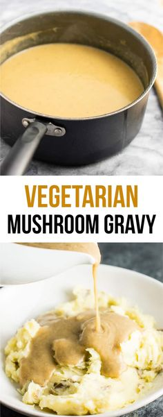 The Best Vegetarian Gravy Recipe – Build Your Bite Vegetarian gravy recipe – this is the BEST gravy I have ever had, with or without meat! Seriously incredible and everyone will be wanting some at Thanksgiving! Vegetarian Gravy Recipe, Vegetarian Mushroom Gravy, Vegan Gravy, Vegetarian Dinners, Vegetarian Recipes, Cooking Recipes, Thanksgiving Gravy, Vegitarian Thanksgiving Recipes, Thanksgiving Vegetarian Dishes