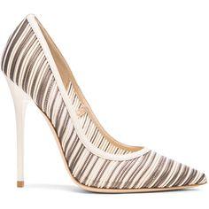 Jimmy Choo Metallic Anouk Mesh Pumps (2.945 NOK) ❤ liked on Polyvore featuring shoes, pumps, heels, scarpe, jimmy choo, jimmy choo shoes, striped shoes, metallic pumps i metallic shoes