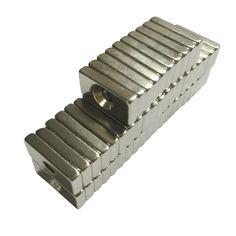 10ピース20 × 10 × 4ミリメートル4ミリメートル穴n50スーパー強い希土類リングブロックネオジム磁石冷蔵庫マグネット