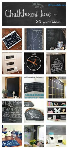 20+Amazing+Chalkboard+Paint+Ideas    I'm already obsessed with chalkboard paiNt... Just gives me more great ideas!