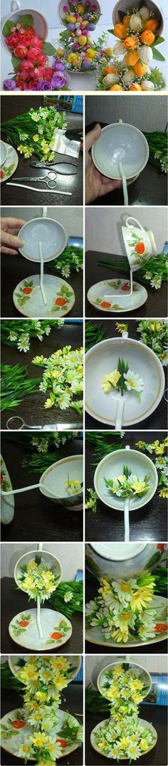 Great way to reuse old teacups and saucers! :)