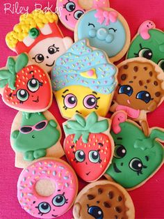 Shopkins Theme Sugar Cookies, Shopkins Party, Shopkins Birthday Party Favors, Shopkins Cake, by RileyBakes on Etsy https://www.etsy.com/listing/273318400/shopkins-theme-sugar-cookies-shopkins