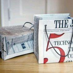 Newspaper gift bags, dyi