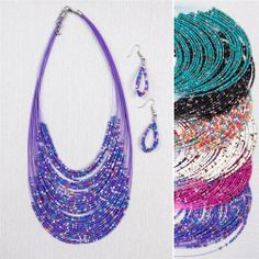 Multistrand Seed Bead Necklace and Earring Set - looks great with turtlenecks!!! Several colors to choose from!