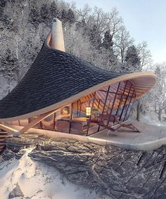 Wooden Architecture, Architecture Design, Underwater Hotel, A Frame House, Earth Homes, Tiny House Movement, Prefab Homes, Cabins In The Woods, House Plans