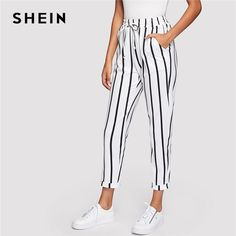 9f9783d79b1 SHEIN Black and White Casual Drawstring Waist Striped High Waist Tapered  Carrot Pants Summer Women Going