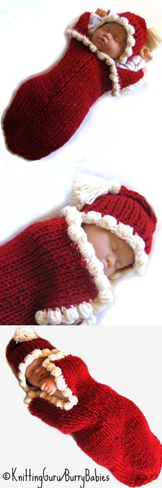 Fast Easy DIY Knitting Pattern for Baby Christmas Cocoon. So cute for holiday pictures.   @Heidi Joy I love this. What do you think? Shall I send one with the other 2 and the bonnet set?