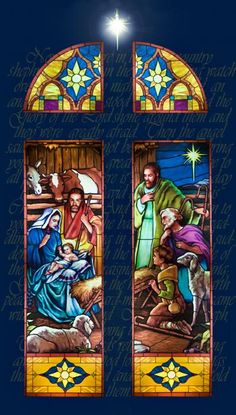 stained glass nativity that would look nice as a stained glass quilt