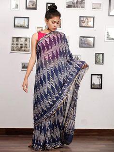 Indigo White Hand Block Printed Chiffon Saree with Zari Border - S031703167 Cotton Sarees Handloom, Ethnic Sarees, Chiffon Saree, Print Chiffon, Saree Collection, Designer Dresses, Indigo, Artisan, Printed
