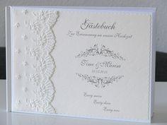 """Gästebuch Hochzeit """"Spitze"""" Deko creme von ele-bo auf DaWanda.com"""
