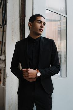 sleek // #brathwait, black suit, menswear, mens style, mens fashion, watch, minimalist