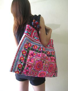 Ethnic Hmong Vintage style Tote Thai by LannaThaiCreations on Etsy
