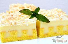 Krémes banános szelet | TopReceptek.hu Crepes, Hot Milk Cake, Torte Recepti, Square Cakes, Queso, Vanilla Cake, Cheesecake, Deserts, Food And Drink